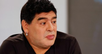 Argentina's soccer legend Diego Maradona looks on as he hosts his television show 'De Zurda' in Caracas March 1, 2015.   REUTERS/Jorge Silva (VENEZUELA - Tags: SPORT SOCCER ENTERTAINMENT)